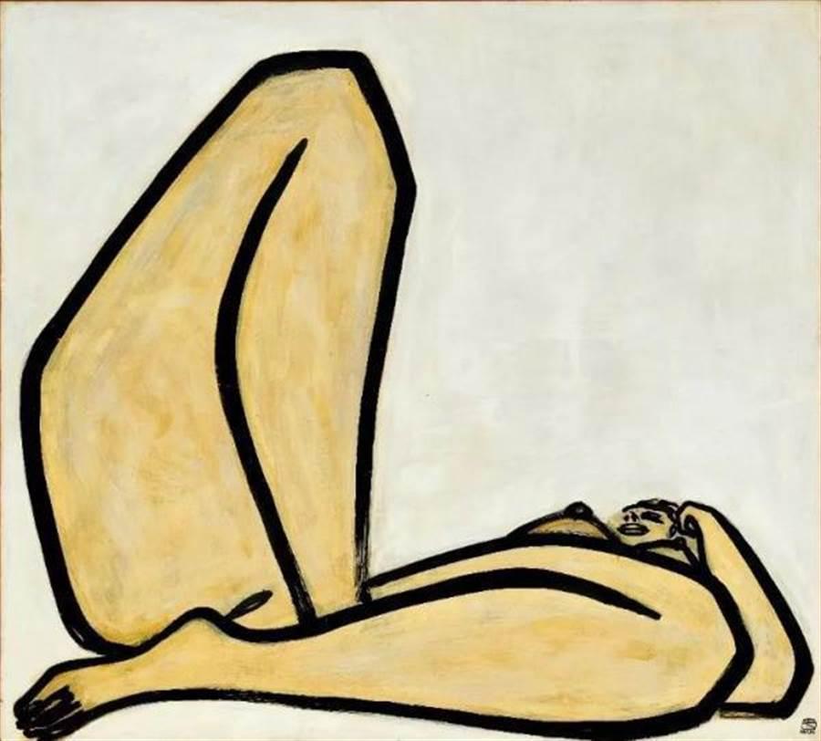 常玉作品《曲腿裸女》,油彩纖維板,1965年作,1.98億港幣成交。(取自澎湃網)