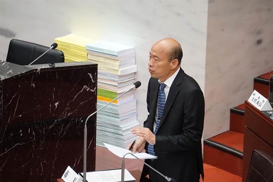 高雄市長韓國瑜在議會備詢。(本報資料照片)