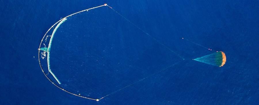 加裝降落傘的海洋垃圾捕捉網,終於成功的運作了。(圖/海洋基金會)