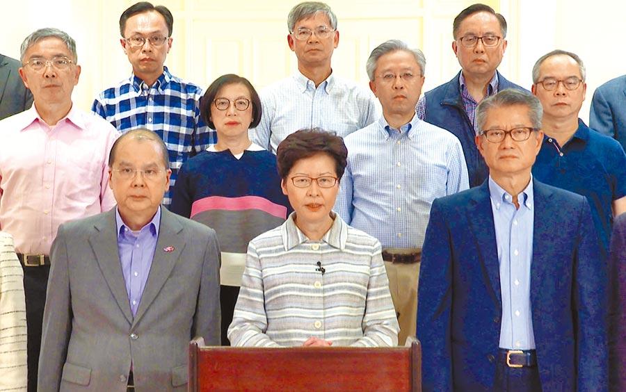香港特首林鄭月娥5日發表電視講話,形容4日晚間香港發生極為恐怖的暴力事件。(中新社)