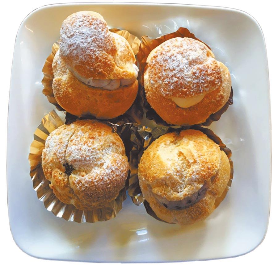 「艾薇塔烘焙工坊」的手作爆餡泡芙,有4種口味供挑選。(莊哲權攝)