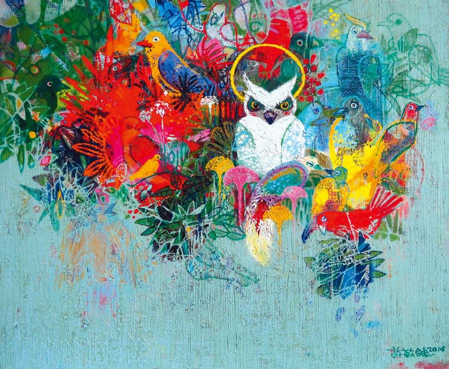 「森林裡的秘密」油畫50x60.5公分,森林中,鳥兒們自成一世界,像人類社會一般,充滿活力,眾鳥齊鳴活潑雀躍,襯托出貓頭鷹。照片提供許敏雄