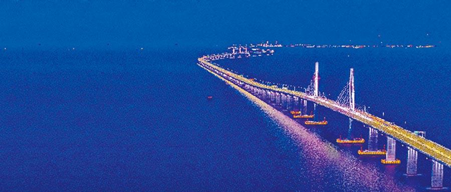 港珠澳大橋夜景。(珠海市提供)