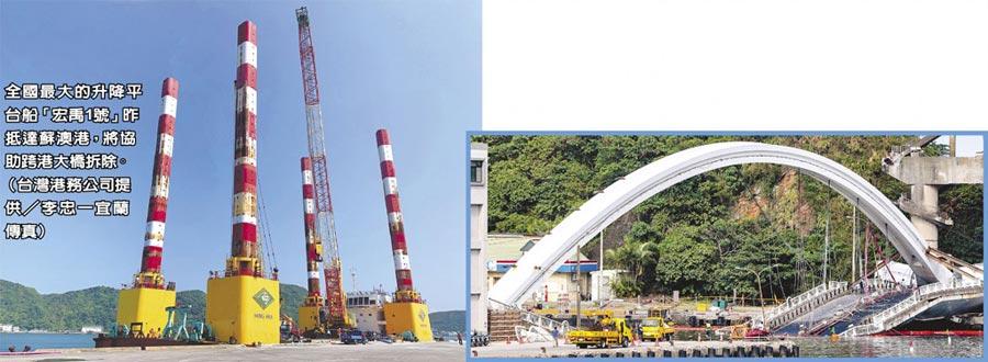 全國最大的升降平台船「宏禹1號」昨抵達蘇澳港,將協助跨港大橋拆除。(台灣港務公司提供/李忠一宜蘭傳真)