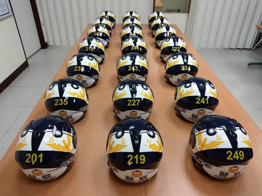 北市警中山分局中二所獲贈彩繪限定安全帽。(警方提供/胡欣男台北傳真)
