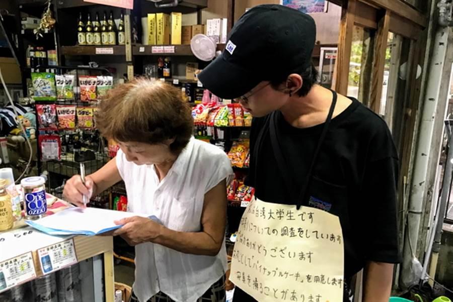 弘光學生寫計畫出國自主學習,運休系同學到日本做問券。(弘光科大提供/陳淑娥台中傳真)
