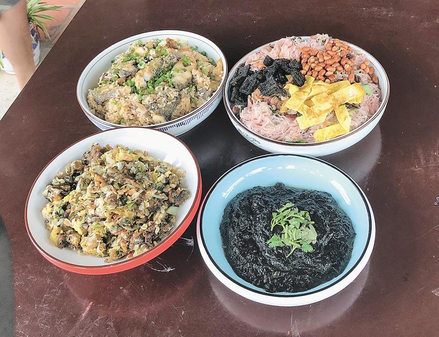 島上特色美食如媽祖平安麵、湄洲魚飯、湄州粉餅、紫菜等極具風味,不能錯過。(周麗川攝)