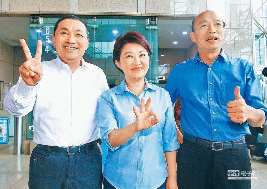 圖為高雄市長韓國瑜(右起)、台中市長盧秀燕與新北市長侯友宜。(本報系資料照片)
