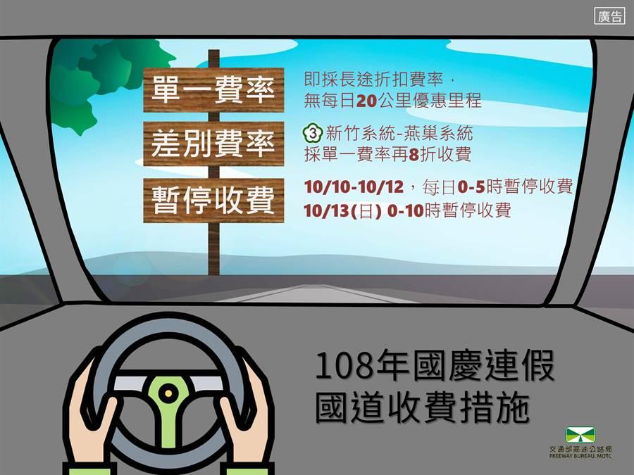 為分散車流及抑制短途旅次,國慶連假自10日至13日國道實施單一費率。(圖/高公局提供)