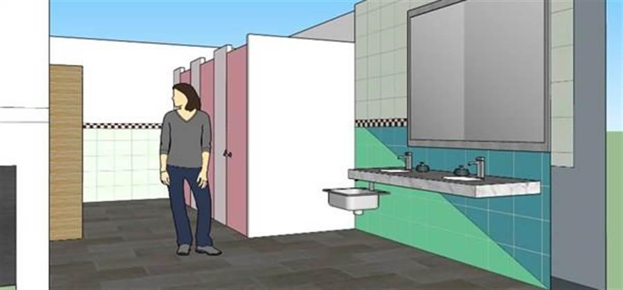 男、女廁間比例調成1比3、4,廁間坐、蹲比例重新調整,以符合身障朋友及長輩需求;親子廁間有尿布平台、兒童洗手台,並打造無障礙廁間,環境更友善。 (台中市政府建設局提供/張妍溱台中傳真)