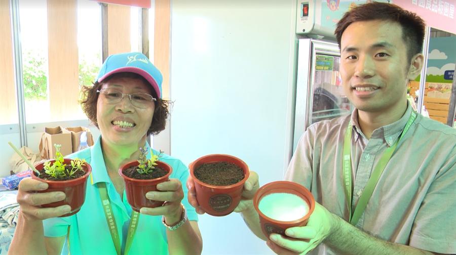 桃園農博人手一杯的盆栽冰淇淋。(圖/中時電子報攝)