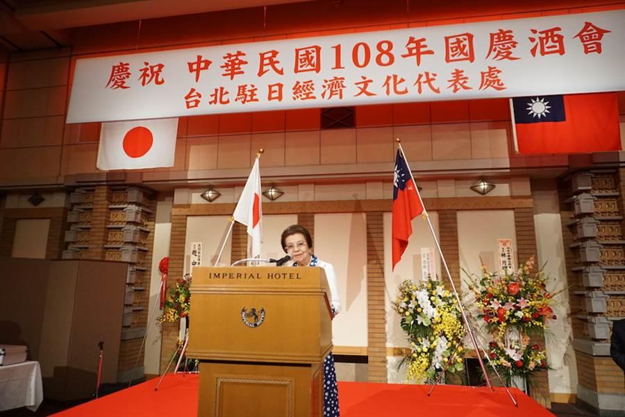 日本首相安倍晉三的母親安倍洋子連續3年出席駐日代表處舉辦的國慶酒會。(黃菁菁攝)