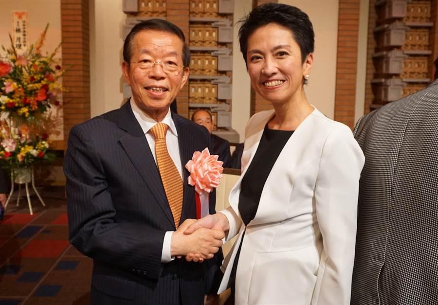日本台裔參議員、立憲民主黨參議院國會對策委員長蓮舫8日出席駐日代表處舉辦的國慶酒會。(黃菁菁攝)