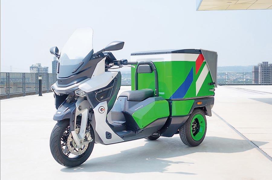 電動三輪機車10月起載重增至200公斤;圖為封閉式貨箱電動三輪機車示意圖。(交通部提供)