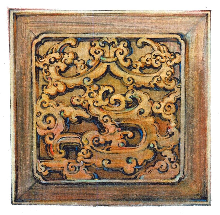 臺北林安泰古厝中,正廳神龕下方,以夔龍紋式設計雕造「福」、「祿」、「壽」、「全」四字中的「全」字。(圖/古耀華)