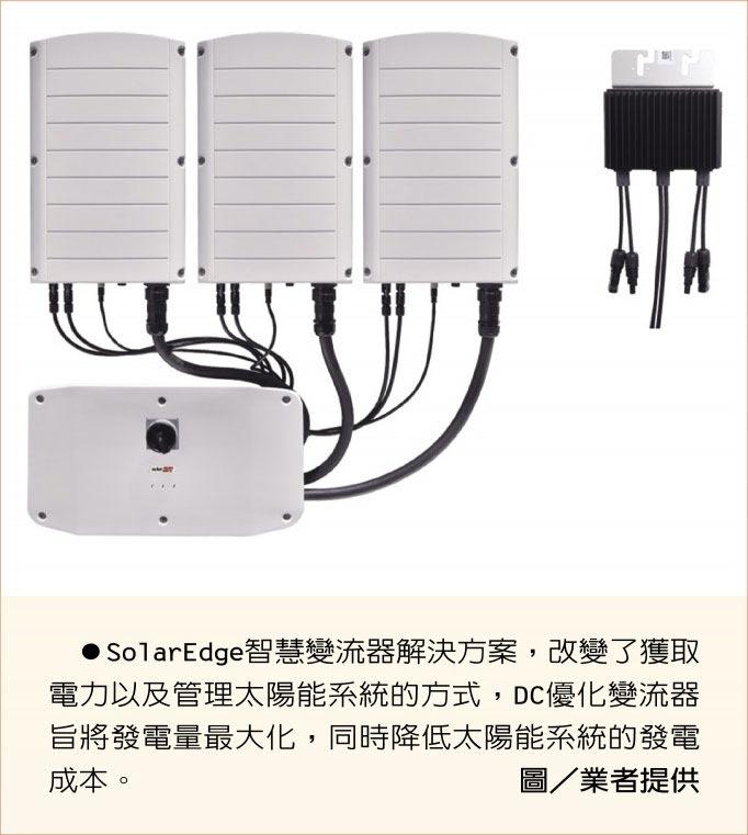 SolarEdge智慧變流器解決方案,改變了獲取電力以及管理太陽能系統的方式,DC優化變流器旨將發電量最大化,同時降低太陽能系統的發電成本。圖/業者提供