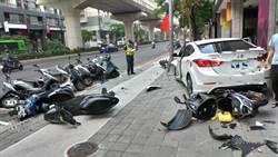 迴轉失控轎車衝人行道撞13輛機車