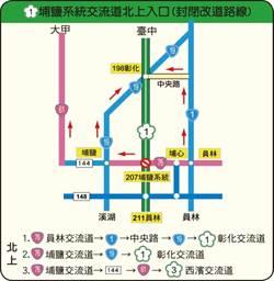 國慶4天連假 國道1號埔鹽系統交流道封閉