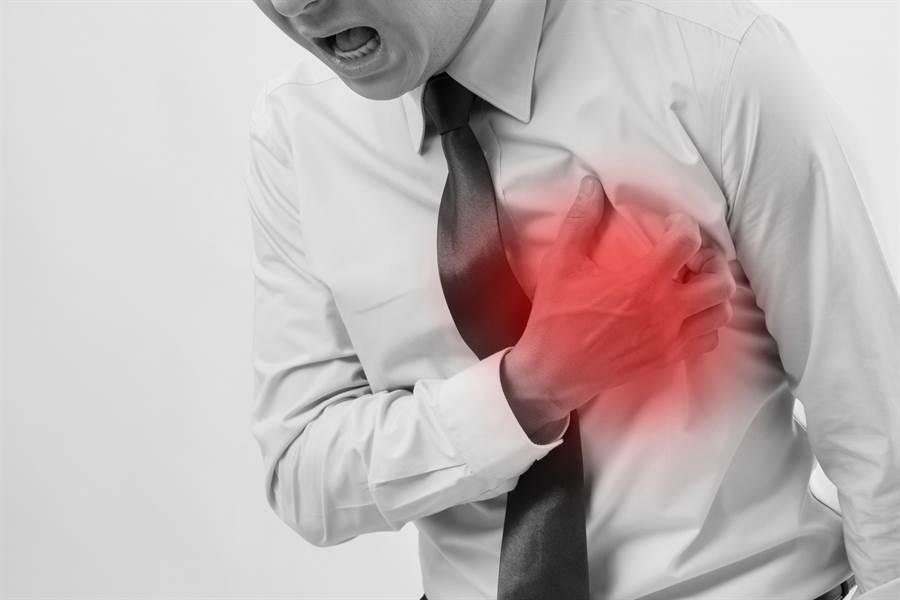 醫師指出,心絞痛會表現在胸前偏左處,會有絞痛、悶、壓迫的感覺,讓人感覺喘不過氣。(達志影像/shutterstock)