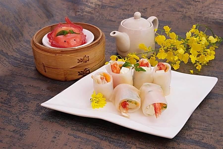 六福客棧〈金鳳廳〉的〈帝王蟹腸粉〉,是以整隻帝王蟹腳作腸粉內餡。(圖/六福旅遊集團)
