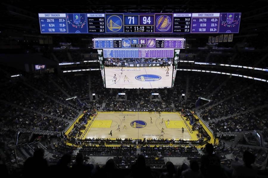 NBA湖人與勇士熱身賽。(美聯社資料照)