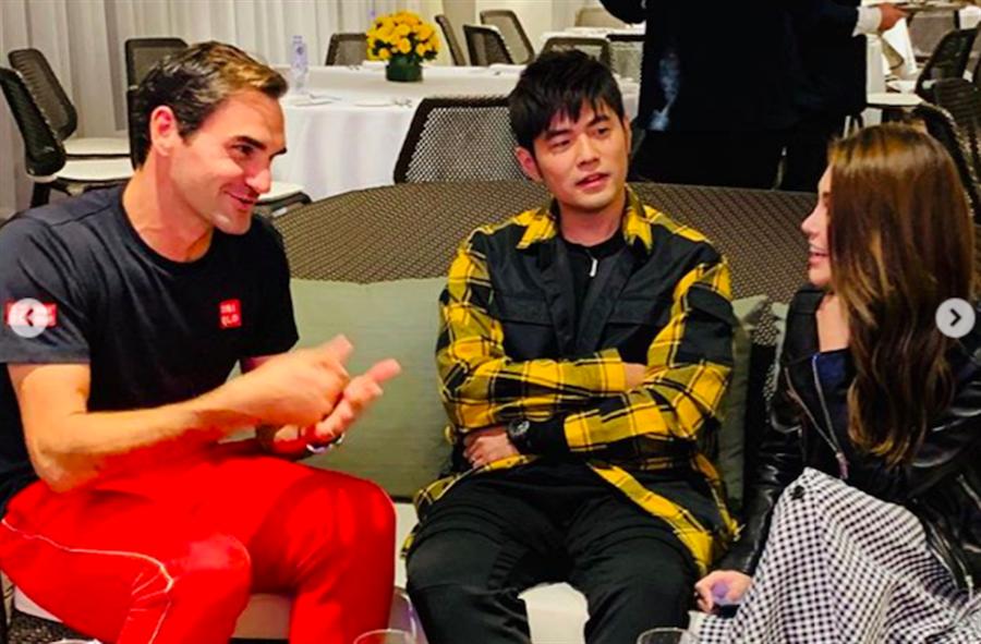 網壇天王費德勒昨與周杰倫夫婦相談甚歡。(截自IG)