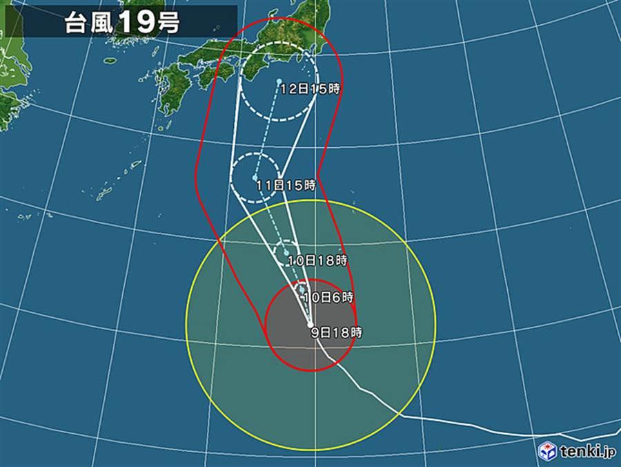哈吉貝颱風5日路徑預測圖。(圖擷自日本氣象協會)