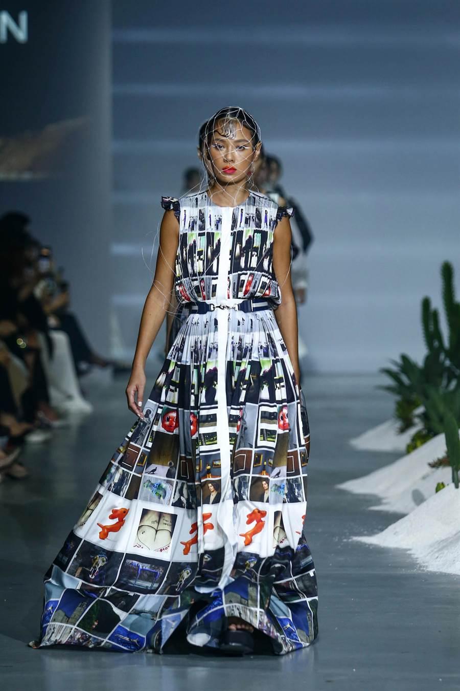 JAMEI CHEN品牌以主題《JAMEI CHEN‧EXILE 放逐》參與《2019臺北時裝週ss20》,本次主題靈感來自創辦人陳季敏設計師及藝術總監郭英聲參加威尼斯雙年展的南歐之旅,從回憶及紀錄圖像中,王麗雅身上穿的衣服呈現宛如克林姆的名畫般典雅。(鄧博仁攝)