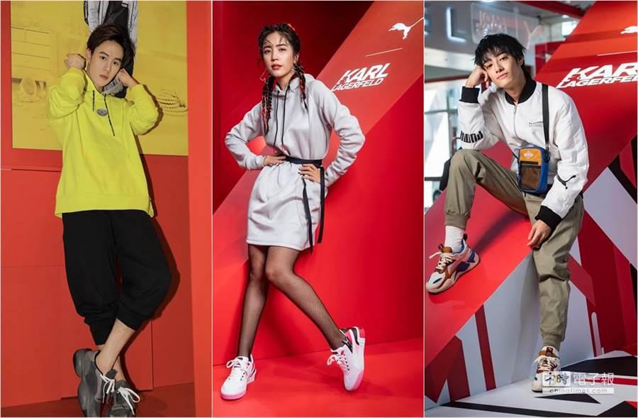 孫麥傑、夏若妍、劉修甫,今(9)日出席運動品牌聯名時尚大帝老佛爺的新品活動展。(圖/品牌提供)