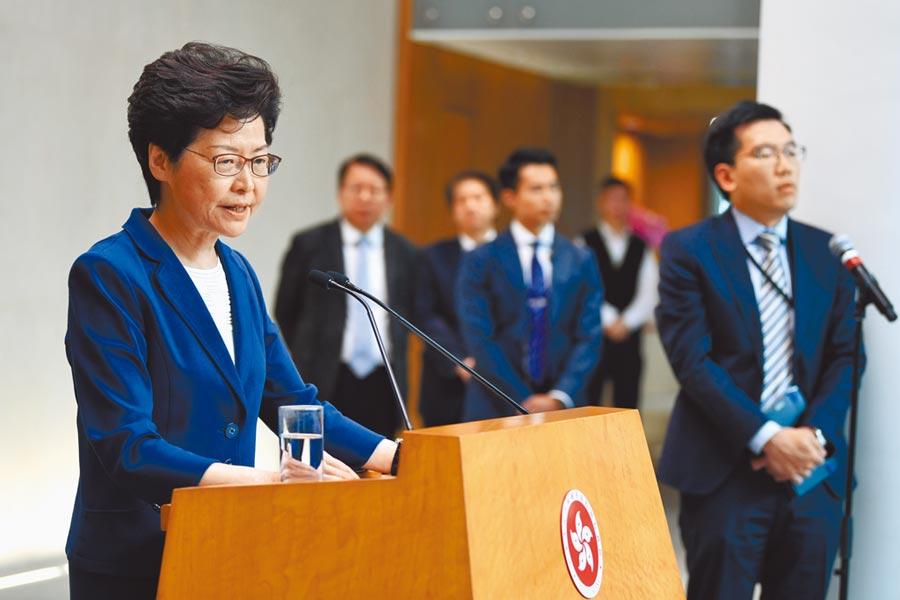 香港特首林鄭月娥8日表示,無計畫再用緊急法設立新規例。(中新社)