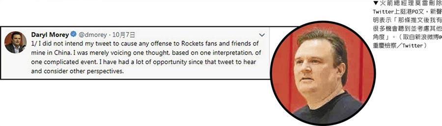 火箭總經理莫雷刪除Twitter上挺港PO文,新聲明表示「那條推文後我有很多機會聽到並考慮其他角度」。(取自新浪微博@重慶檢察/Twitter)