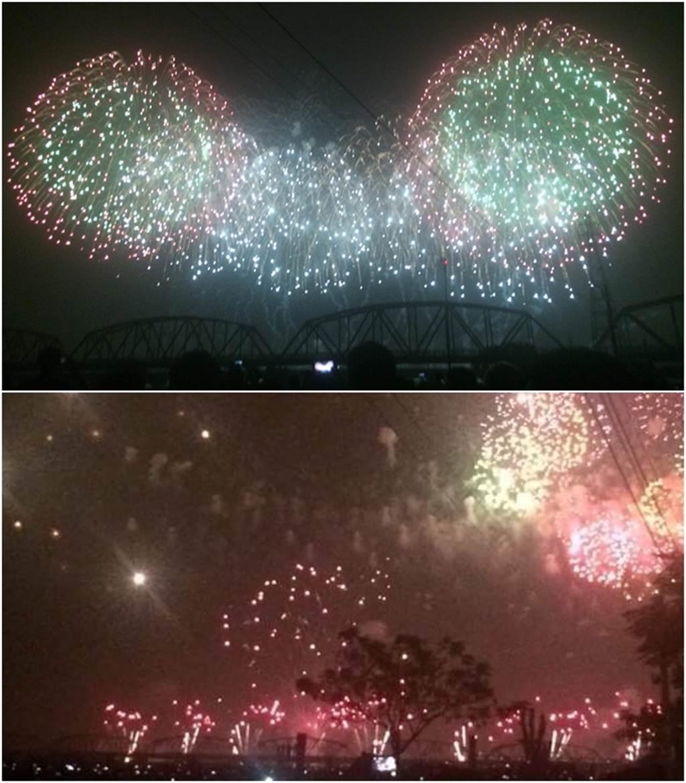 現場拍攝國慶焰火。(圖/讀者提供)
