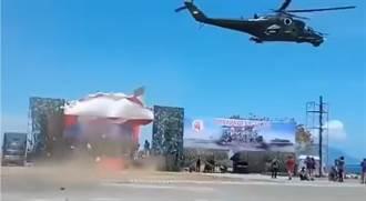 印尼閱兵 直升機低空飛行摧毀觀禮台