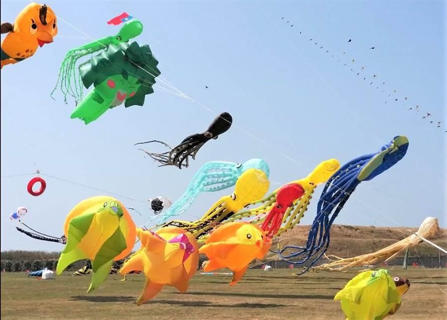 國旗飛揚、風箏輝映,澎湖放飛風箏歡慶國慶。(陳可文攝)