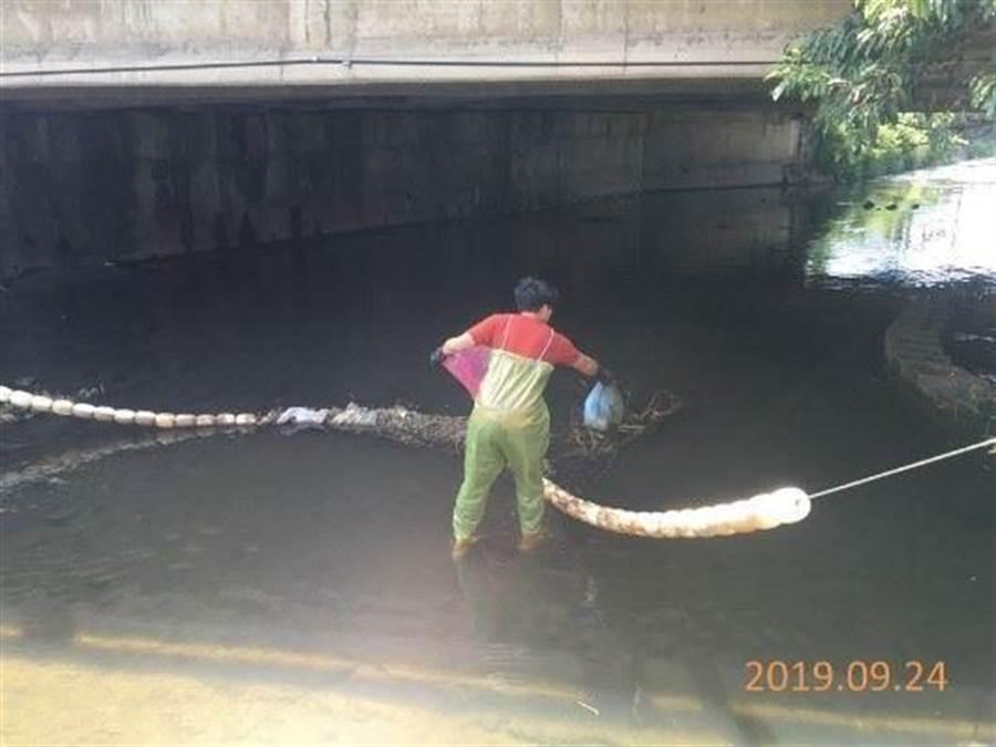 苗栗縣政府環保局自7月到9月止,清除70公噸河面垃圾。(苗栗縣政府環保局提供/何冠嫻苗栗傳真)