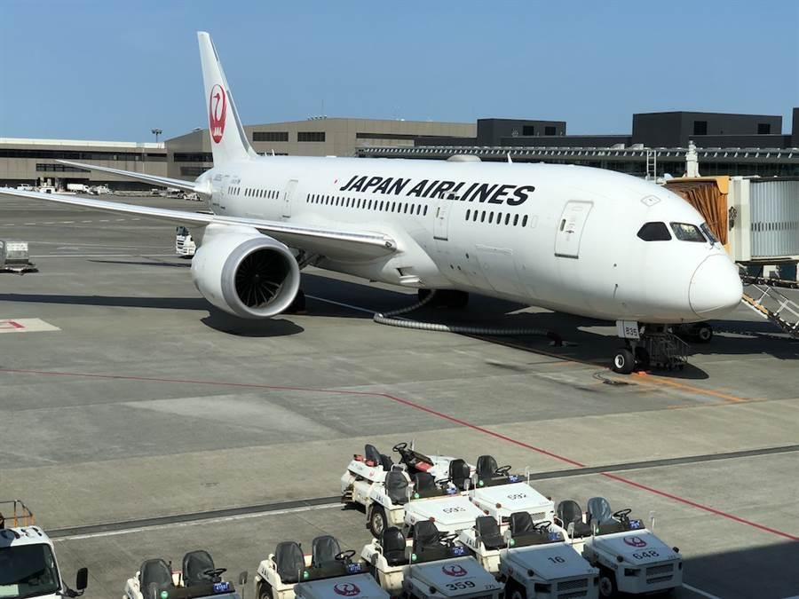 哈吉貝強颱襲日,日本航空宣布成田、羽田機場12日飛台北的國際航班大多停飛。圖為成田機場的日航客機。(黃菁菁攝)