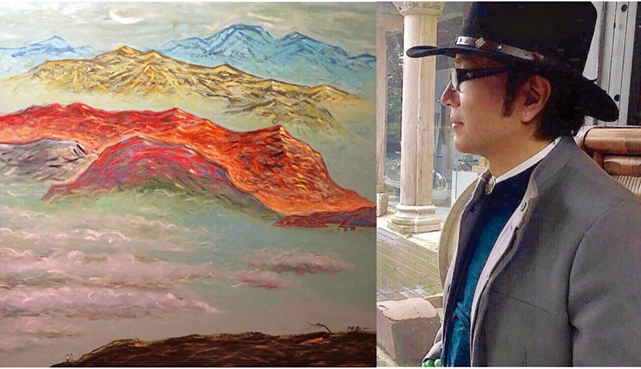 陳歡與其油畫作品「云天」。圖/陳歡提供