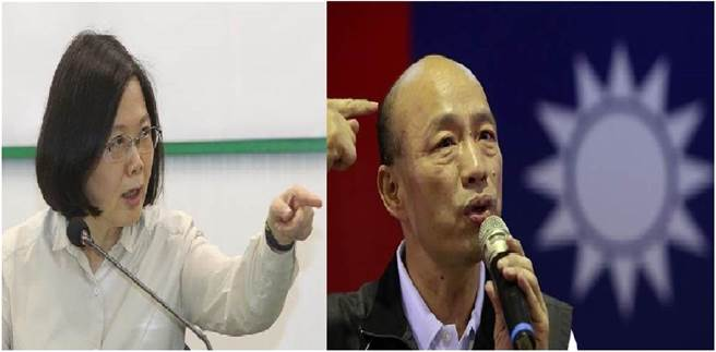 總統蔡英文(左)、國民黨總統提名人韓國逾(右)。(圖/合成圖,本報資料照)