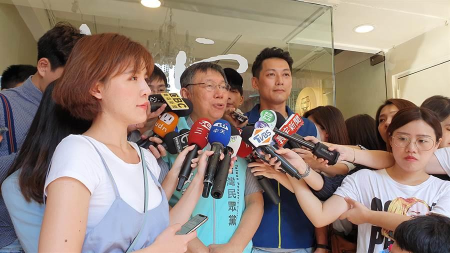 關於郭柯合作,台北市長柯文哲反酸,民進黨和國民黨是百分之百衝突,「95%沒有衝突,合作就是很高level了!」(葉書宏攝)