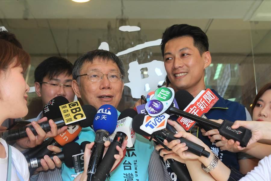 台北市長柯文哲今(11日)上午表示,「國是中華民國、家是台灣」,現階段這已經是最大公約數。(葉書宏攝)