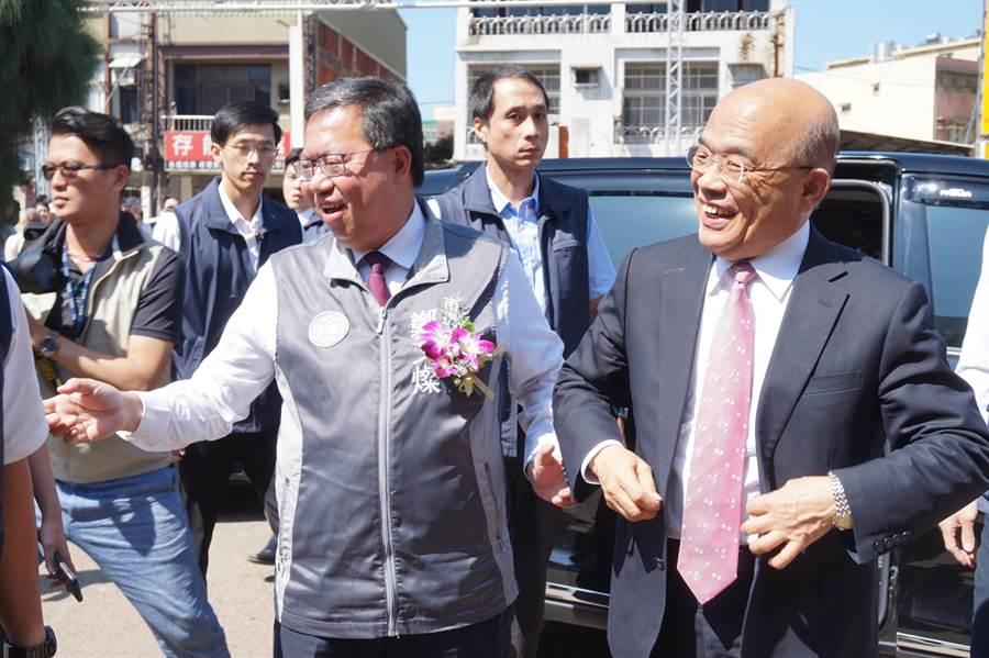 行政院長蘇貞昌到桃園參加11日參加捷運綠線GC02標開工祈福典禮時,表示韓到對岸不敢說中華民國。(甘嘉雯攝)