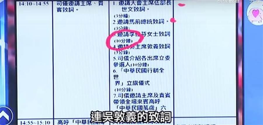 國民黨雙十大會演講流程。(圖/翻攝自YouTube)