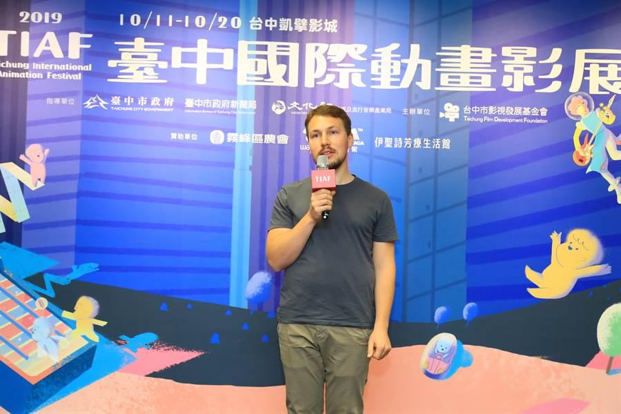 25歲青年導演吉特保羅迪斯,遠從拉脫維亞來台灣,動畫片《衝出迷境》獲選為2019台中國際動畫影展開幕片。(盧金足攝)