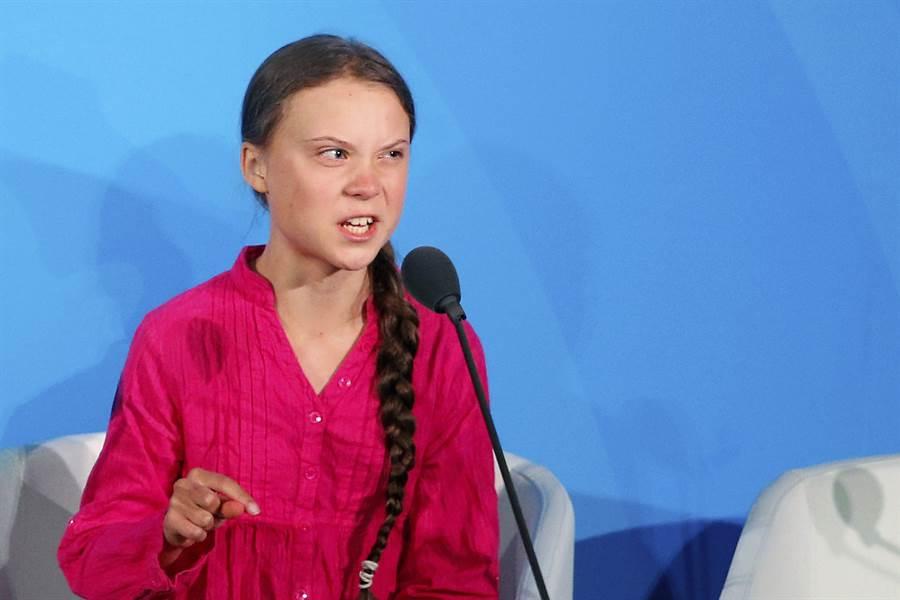 16歲瑞典環保小鬥士桑柏格23日在聯合國氣候行動峰會上控訴各國領袖在環保議題上讓年輕世代失望。(圖/美聯社)