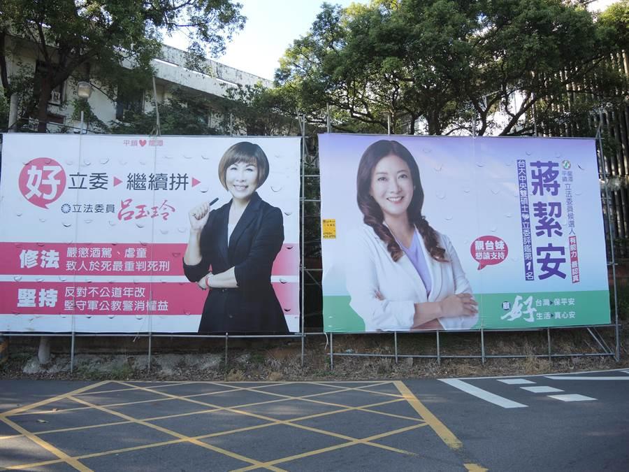 桃園市第五選區藍綠兩黨立委參選人呂玉玲(左)、蔣絜安(右)。(邱立雅攝)