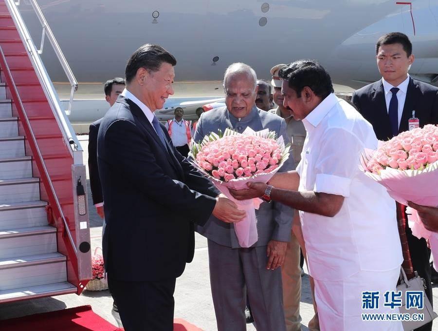 大陸國家主席習近平11日乘專機抵達印度金奈。(新華社)
