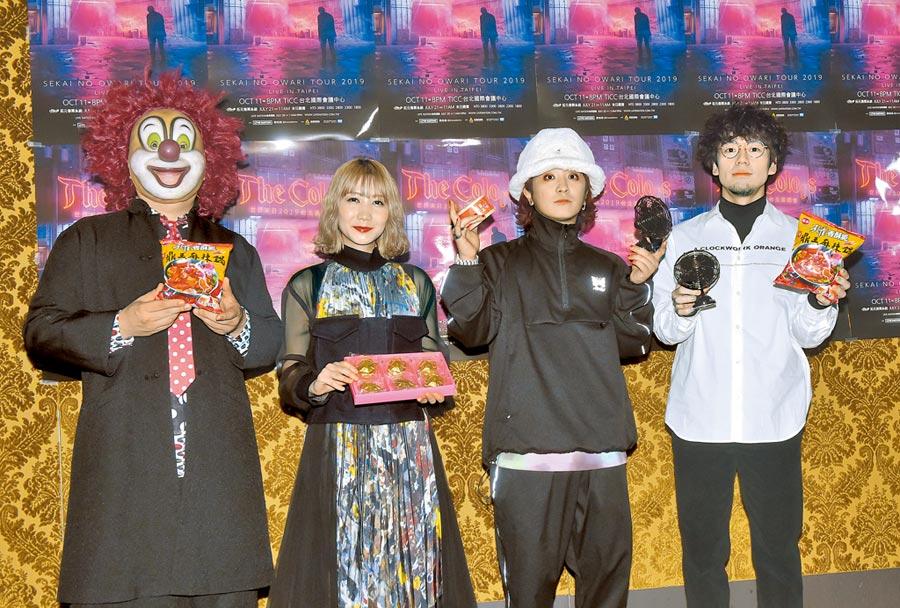 日本樂團「世界末日」5度來台開唱,左起DJ LOVE、Saori、Fukase、Nakajin。(盧禕祺攝)