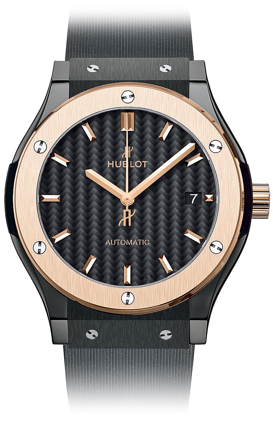 宇舶表經典融合系列皇金黑陶瓷腕表,40萬9000元。(HUBLOT提供)