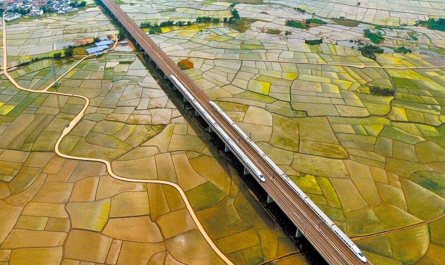 廣西將於2020實現市市通高鐵。圖為動車在廣西賓陽縣的田野上行駛。(新華社資料照片)