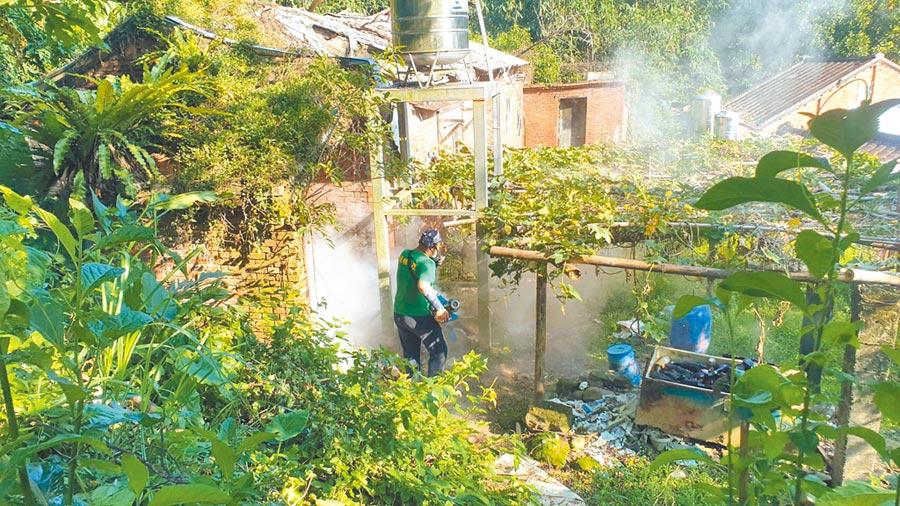 樹林再添1本土登革熱確診,都與坡內里菜園有關,市府已完成噴消與孳清。(新北市衛生局提供/葉德正新北傳真)